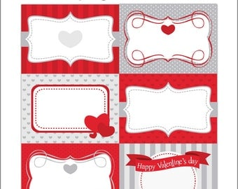 Valentine Printable Cards/tags, book labels, stickers, kids cards, gift tags, labeling, scrapbooking, etc.....