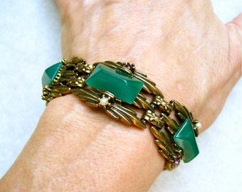 Vintage Green Glass Bracelet  Pyramid Art Deco Panels