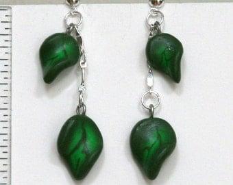 Forest Green Leaves Earrings