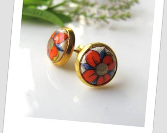Orange flower Paper Studs Earrings