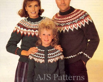 PDF Knitting Pattern for Family Nordic Fair Isle Cardigan & Sweater