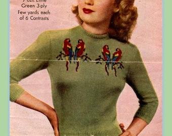 PDF Knitting Pattern - Fabulous 1940's 'Love Birds' Design Fair Isle Jumper/Sweater - Instant Download