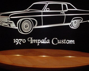 "1970  Impala Custom Acrylic Lighted Edge Lit LED  Sign  13"" VVD1 Full Size Made in the USA"