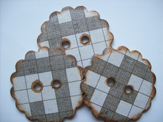 Handmade Scalloped Edge Chipboard Buttons Crossword Puzzle