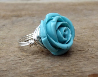 Blue Rose Ring:  Silver Wire Wrapped Something Blue Bridal Jewelry, Bridesmaid, Mother's Day