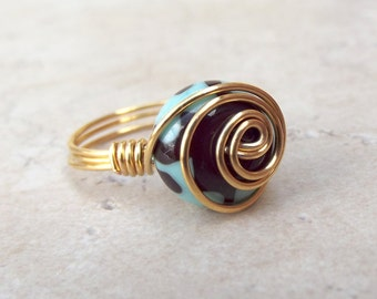Mint Green Swirl Ring:  Gold Swirl Spiral Wire Wrapped Jewelry, Chocolate Brown Lampwork Glass Ring, Size 6