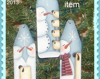 EPATTERN, #0005 Snowman and Sheep, mini ironing board, Christmas ornaments, digital download, paint your own,snowman pattern, sheep pattern
