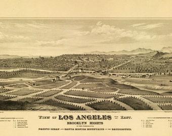 Vintage Map - Los Angeles, California 1877