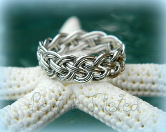 Sterling Silver 8 Strand Woven Ring - Braided Wedding Band - Unisex Band