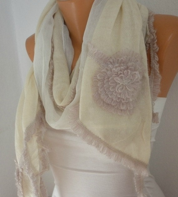 OOAK SCARF,Ivory Knitted Scarf, Fall Winter Accessories, Shawl, Cowl Scarf Bridal Accessories Gift Ideas For Her Women's Fashion Accessories