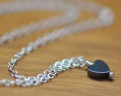 Dainty Hematite Heart Necklace, Sterling Silver Chain, Short, Valentine's Day Gift