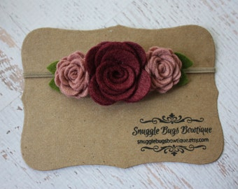 Wine and Cameo Pink Wool Felt Flower Headband - Trio of  Roses  - Newborn Baby to Adult -
