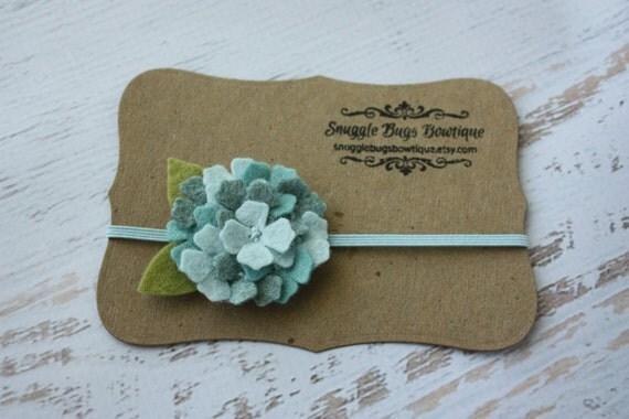 Aqua Felt Flower Headband - Mini Wool Felt Hydrangea Headband or Hair Clip - Newborn Baby to Adult