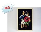SALE Vintage Framed Embroidered Bouquet