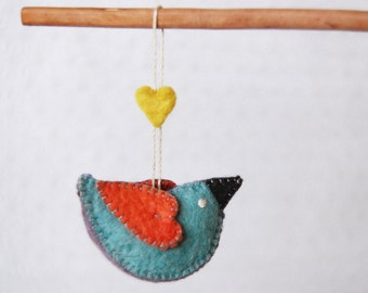 Felt Bird Blue Turquoise and Orange --Handmade unique pure wool felted animal -- Ornament Bird Felt