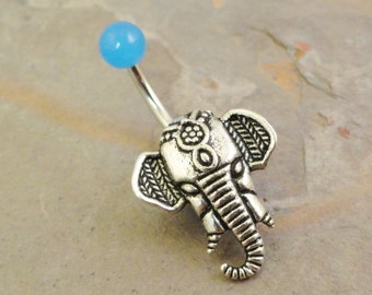 Light Blue Elephant Belly Button Rings