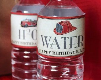 Firetruck Water Bottle Labels - INSTANT DOWNLOAD - Editable & Printable Birthday Party Decoration by Sassaby