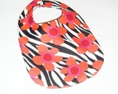Baby Girl Bib - Bold Red Flowers on Zebra Print - Baby Gift Under 10 - pasqueflower