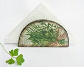 BOUQUET GARNI - Wooden Napkin Holder/ Vintage look/  Provence kitchen/ Green Herbs