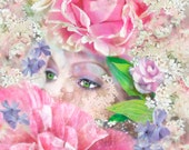 Fragrant Interlude...Digital Fusion, Home Decor, Print, Flowers, Woman