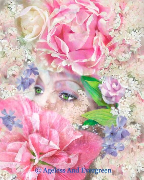 Fragrant Interlude...Digital Fusion, Home Decor, Print, Flowers, Woman