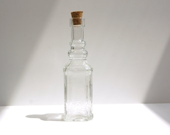 "Decorative Clear Glass Bottle with Cork, ""Decanter"" (5"" tall), Style 7 - Small bottle perfect for spices, bath salts,  vases, and more"