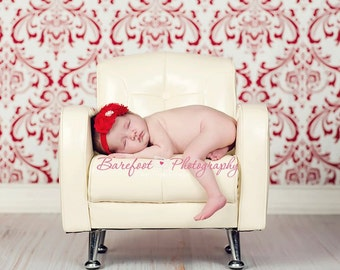 Baby Girl Red Headband..Rhinestones..Red Baby Headband..Red Headband..Baby Girl Red Flower Headband..Christmas Headband