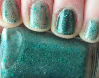Swamp Thing  Dirty Teal Blue Green POP micro Glitter Indie Franken Nail Polish