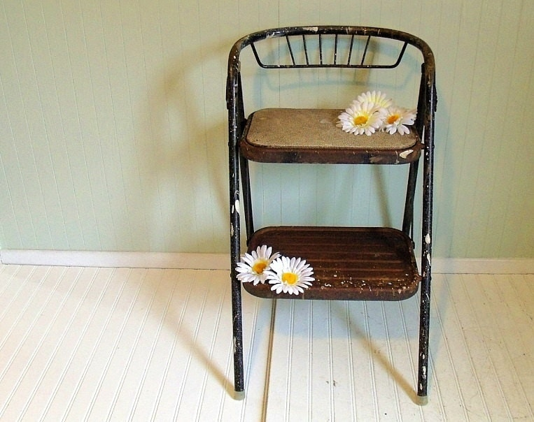 Vintage Metal Folding Step Stool Retro Black Amp White Heavy