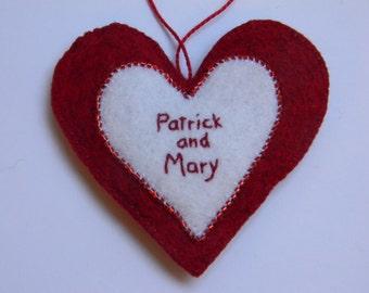 personalized felt heart with two names