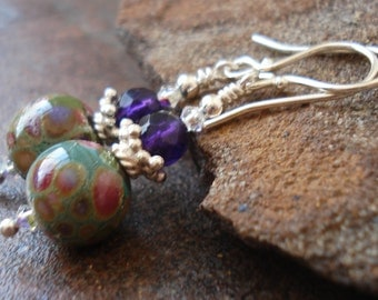 Art Glass Earrings - Lily Pond - Amethyst and Sterling Silver - Handcrafted Jewelry - Spring - Lampwork Earrings