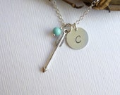 Sterling Silver Arrow, Initial and Birthstone Necklace -- Personalized Stone Charm Trio