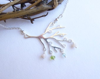 Solid Sterling Silver Family Tree with Custom Stones Necklace -- Personalized Birthstones -- Mothers Necklace