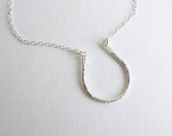 Lucky Horseshoe Necklace  -- Entirely Sterling Silver -- Good Luck Charm Horse Shoe Pendant