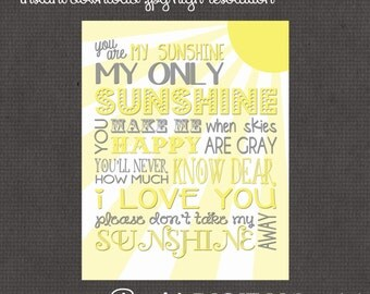 8x10 Yellow and Gray You are my sunshine Nursery Wall Art digital- you print your own- INSTANT DOWNLOAD