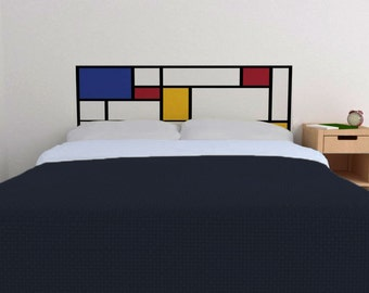 Mondrian Headboard Decal in Primary Colors | Vinyl wall sticker decal | De Stijl Style headboard | FREE SHIPPING
