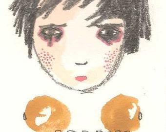 ACEO Original, Whimsical Girl Folk Art Illustration, Original ATC ACEO, Original Drawing,Balancing Act