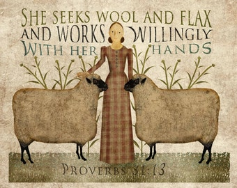 Primitive folk Art, Wool and Flax Art, 8.5x11, download, print