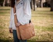 Tan Leather Messenger Bag -- Laptop Bag -- Made in USA -- Unisex