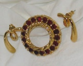 Vintage GIgantic Ruby Red Rhinestones Circle Wreath Shiney Brooch with 1980s Golden Twisted Blobs, So Romantic. Really.