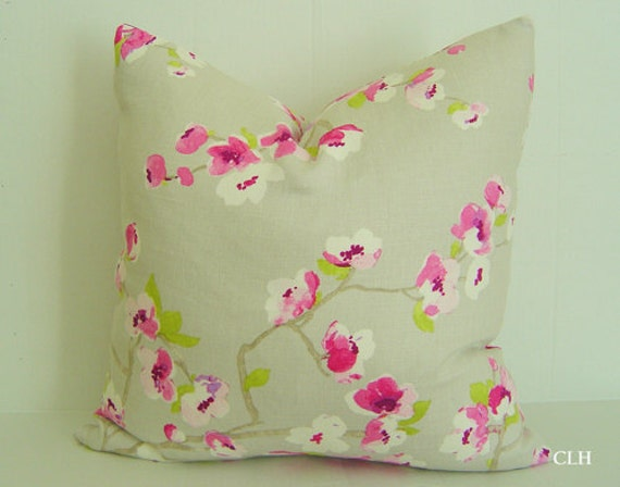 "100% LINEN / Cherry Blossom Pillow Cover / 20"" x 20"" / Soft Grey, Bright Fuschia / Decorative Pillow / Designer Fabric"