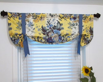 Floral Tie Up Lined Valance Yellow Blue   Custom Sizing Available!