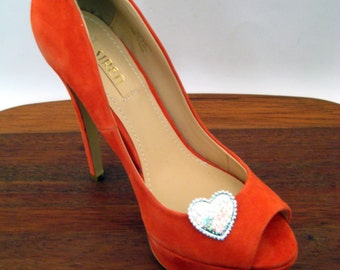 Silver Heart Shoe Clips FREE SHIPPING