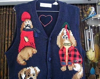 Woolen Vest Adorned with Doggies Motifs - Artistically Patched and Embroidered, Vintage - Medium to Large