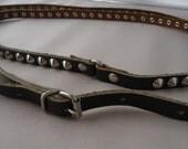 Skinny Leather Belt Black Studded Double Wrap