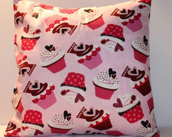 12x12 Valentine's Day Cupcake Accent Pillow