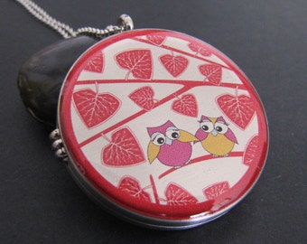 Photo Locket Necklace  Silver Necklace Locket  Image Locket  Picture Locket Gift Jewelry, Owl couple on a branch