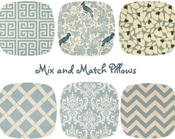 """Decorative Throw Pillow Cover - One, Mix and Match, 20"""" x 20"""", Village Blue Natural, Chevron Damask Pillows, Greek Key, Cushion Covers"""