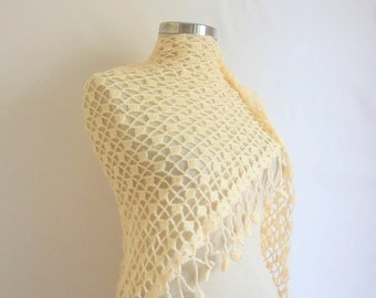Handmade Crochet Ivory  Wedding Shawl-Free Shipping