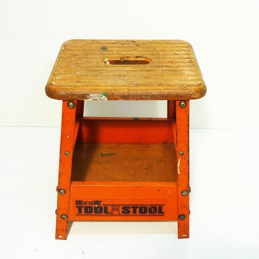 Orange Steel Industrial Stool Painted Metal Hirsh Tool Stool